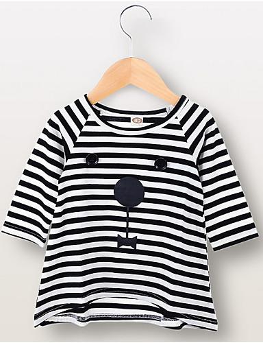 Baby Jente Aktiv Stripet Langermet Polyester Kjole Svart