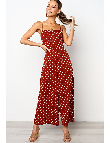 c510de89fa Women s Daily Street chic Strap Red Navy Blue Yellow Wide Leg Jumpsuit