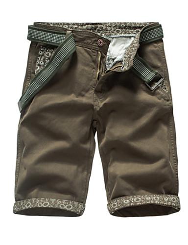 Hombre Básico Algodón Delgado Shorts Pantalones - Un Color Alta cintura Gris f603359b459