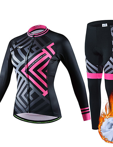 cheap Cycling Clothing-cheji® Women's Long Sleeve Cycling Jersey with Tights - Dark Blue Green Pink Bike Clothing Suit Thermal / Warm Breathable Sports Fleece Lycra Mountain Bike MTB Road Bike Cycling Clothing Apparel