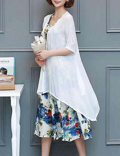 billige Kjoler-Dame Store størrelser Ut på byen Sofistikert Elegant Draperte ermer Skiftet Chiffon Kjole - Geometrisk, Flettet Trykt mønster Knelang Svart & Rød / Sexy
