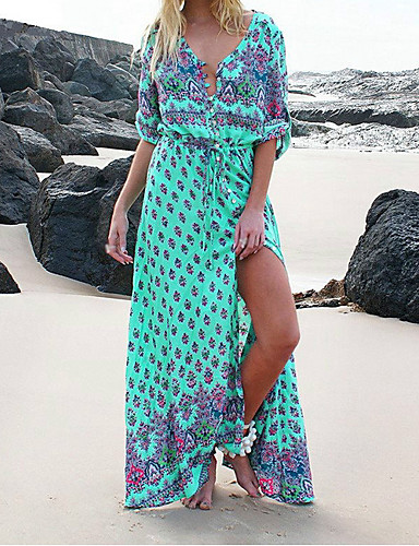 voordelige Maxi-jurken-Dames Elegant Schede Jurk Print V-hals Maxi / Sexy