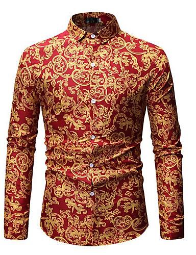 voordelige Herenoverhemden-Heren Boho / Street chic Print EU / VS maat - Overhemd Katoen, Club / Strand Tribal Klassieke boord Klaver / Lange mouw / Zomer