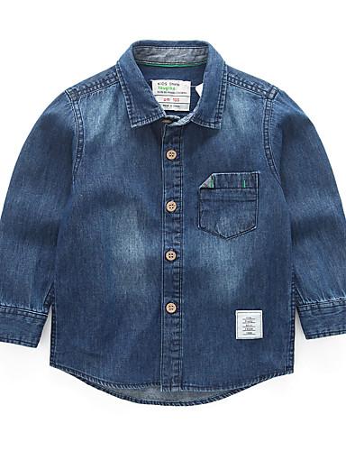 Bambino - Bambino (1-4 Anni) Da Ragazzo Essenziale - Moda Città Quotidiano - Scuola Tinta Unita Manica Lunga Standard Cotone Camicia Blu #07131242