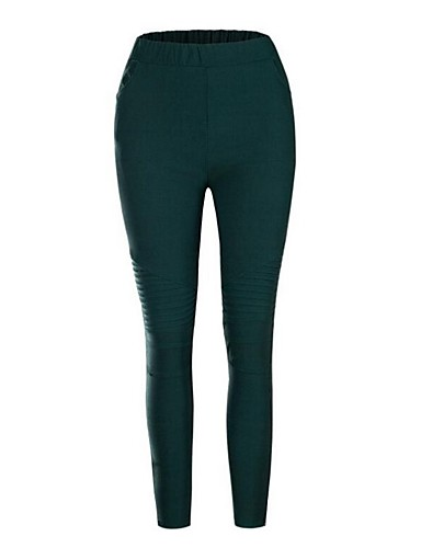 povoljno Tajice-Žene Dnevno Veći konfekcijski brojevi Osnovni Legging - Jednobojni, Naborano Medium Waist Lila-roza Vojska Green Žutomrk XXXL XXXXL XXXXXL / Uske