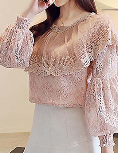 abordables Camisas y Camisetas para Mujer-Mujer Chic de Calle / Tejido Oriental Noche Encaje Blusa, Escote en Pico Un Color Manga de la linterna Rosa L