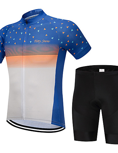 cheap Cycling Clothing-FirtySnow Men's Short Sleeve Cycling Jersey with Shorts - Blue+Orange Stripes Bike Clothing Suit Breathable Moisture Wicking Quick Dry Sports Polyester Stripes Mountain Bike MTB Road Bike Cycling