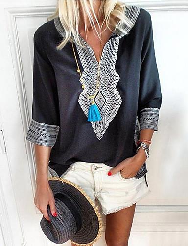 billige Topper til damer-V-hals Store størrelser T-skjorte Dame - Geometrisk, Trykt mønster Grønn