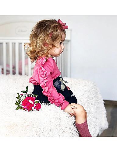 Μωρό Κοριτσίστικα Κομψό στυλ street Καθημερινά Μονόχρωμο Μακρυμάνικο Πολυεστέρας Μπλούζα Ανθισμένο Ροζ