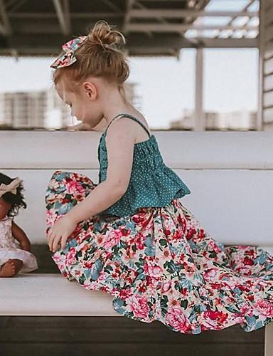 סט של בגדים ללא שרוולים פרחוני בנות ילדים / פעוטות
