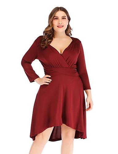 voordelige Grote maten jurken-Dames Grote maten Standaard Schede Jurk - Effen Diepe V-hals Tot de knie Hoge taille / Hoge taille  / Sexy