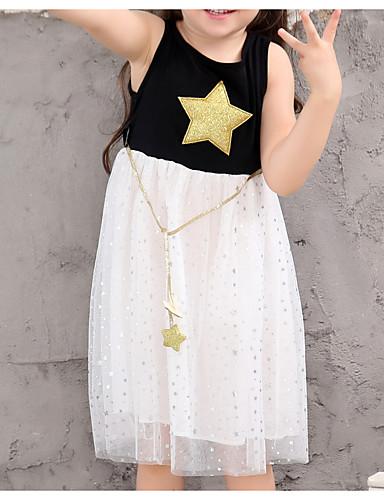 幼児 女の子 活発的 日常 幾何学模様 / カラーブロック ノースリーブ 膝丈 ドレス ホワイト