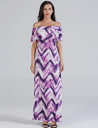 voordelige Maxi-jurken-Dames Slank Wijd uitlopend Jurk - Bloemen, Print Schouderafhangend Maxi