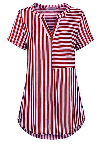 billige Dametopper-V-hals Store størrelser T-skjorte Dame - Stripet Grunnleggende Svart