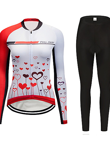 cheap Cycling Clothing-FirtySnow Women's Long Sleeve Cycling Jersey with Tights Red and White Cartoon Bike Clothing Suit Breathable Moisture Wicking Quick Dry Sports Polyester Cartoon Mountain Bike MTB Road Bike Cycling