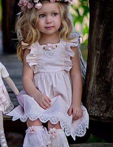 子供 女の子 ベーシック ソリッド ノースリーブ ドレス ピンク