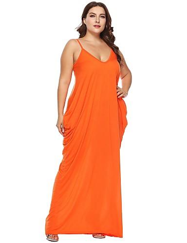 bb411cb0ecf2 Women s Plus Size Party Beach Maxi Slim Tunic Dress - Solid Colored  Backless Strap Cotton Black Orange Wine XL XXL XXXL