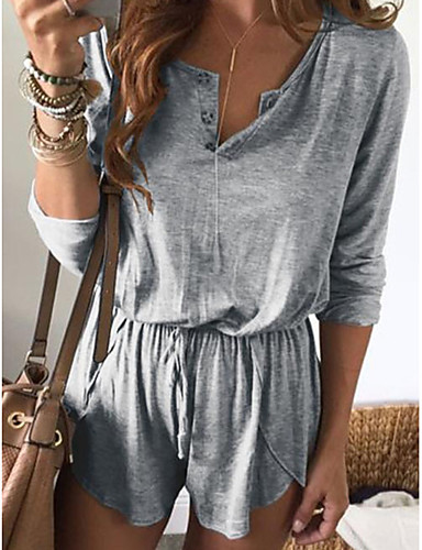 cheap Women's Jumpsuits & Rompers-Women's Daily Green Gray Khaki Harem Romper, Solid Colored Fashion L XL XXL Long Sleeve Spring Summer Fall / Winter
