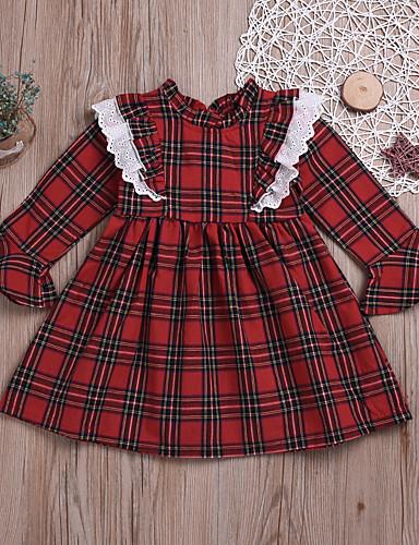 שמלה שרוול ארוך משובץ בנות ילדים / פעוטות