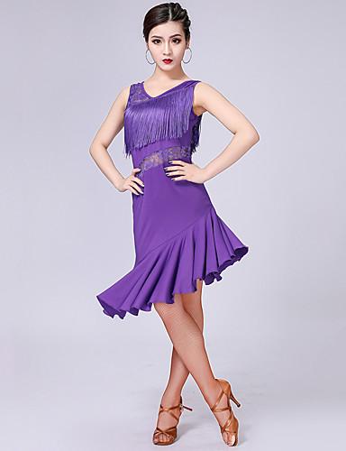 e74b0bddfac7 Latin Dance Dresses Women's Performance Milk Fiber Lace / Tassel / Split  Joint Sleeveless High Dress