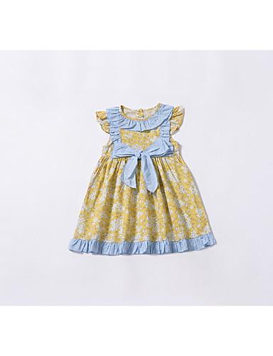 Μωρό Κοριτσίστικα Βασικό Φλοράλ Αμάνικο Βαμβάκι Φόρεμα Κίτρινο