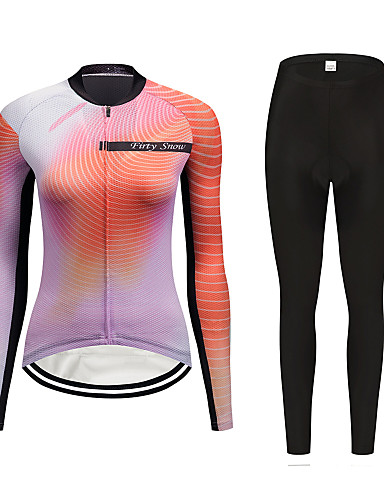 cheap Cycling Clothing-FirtySnow Women's Long Sleeve Cycling Jersey with Tights Peach Gradient Bike Clothing Suit Breathable Moisture Wicking Quick Dry Sports Polyester Gradient Mountain Bike MTB Road Bike Cycling Clothing