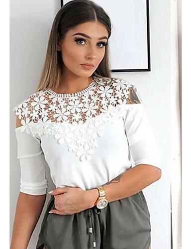 Χαμηλού Κόστους Γυναικείες Μπλούζες-γυναικείον ελαστικό βαμβακερό μπλουζάκι  με ελαστική επένδυση από ελαστικό βαμβακερό ύφασμα aff75163f14