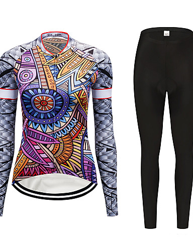 a8d2d9551e7962 FirtySnow Women s Long Sleeve Cycling Jersey with Tights - Purple Floral    Botanical Bike Clothing Suit Windproof Fleece Lining Winter Sports  Polyester ...