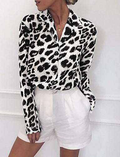 povoljno Ženske majice-Majica s rukavima Žene - Ulični šik Dnevno Leopard V izrez Print Obala