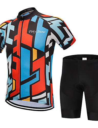 cheap Cycling Clothing-FirtySnow Men's Short Sleeve Cycling Jersey with Shorts - Blue+Orange Bike Clothing Suit Breathable Moisture Wicking Quick Dry Sports Polyester Graphic Mountain Bike MTB Road Bike Cycling Clothing