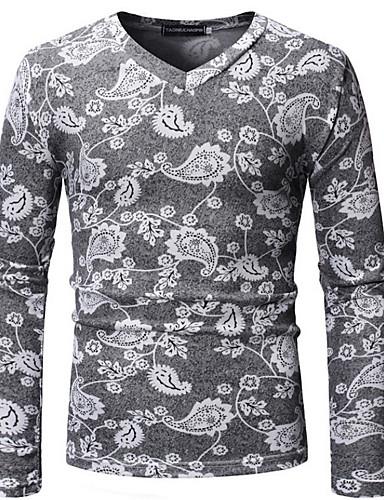 お買い得  3/18-男性用 Tシャツ Vネック 幾何学模様 コットン / 長袖 / ロング