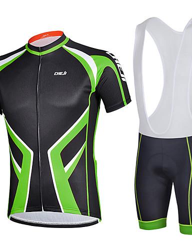 cheap Cycling Clothing-cheji® Men's Short Sleeve Cycling Jersey with Bib Shorts - Green Black / Yellow Burgundy Animal Bike Clothing Suit Breathable Sports Lycra Patchwork Mountain Bike MTB Road Bike Cycling Clothing