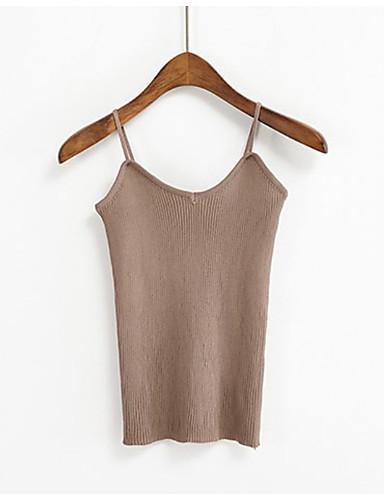 povoljno Ženske majice-Potkošulja Žene Dnevno Jednobojni V izrez Slim Dusty Rose Sive boje