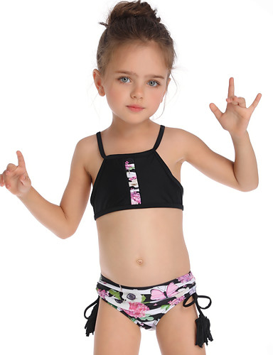 e4489d39f7 Kids Toddler Girls' Basic Cute Sports Beach Floral Ruffle Sleeveless Nylon  Swimwear Black