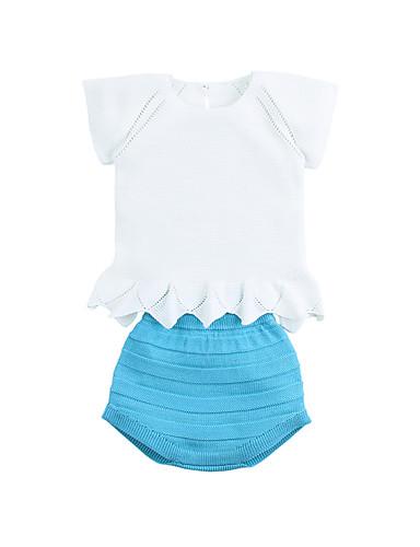Dziecko Dla dziewczynek Aktywny Codzienny Niebiesko-biały Solidne kolory / Żakard Patchwork Krótki rękaw Krótkie Krótkie Poliester Komplet odzieży Biały