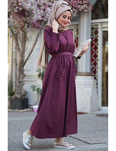 voordelige Maxi-jurken-Dames Feestdagen Boho Elegant Ruimvallend Abaya Kaftan Jurk - Effen, Met ruches Maxi Hoge taille / Hoge taille