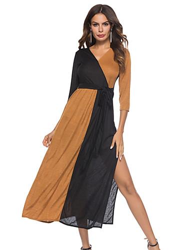 f5ac70593459a Women s Daily Basic Sheath Dress - Color Block Brown Army Green XXXL XXXXL  XXXXXL