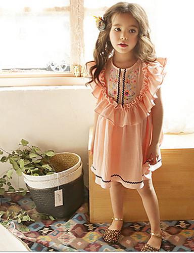 子供 / 幼児 女の子 甘い / かわいいスタイル フラワー ノースリーブ ドレス ピンク