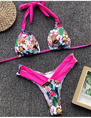 90e347e26 Mujer Básico Con Tirantes Amarillo Fucsia Triángulo Tanga Bikini Bañadores  - Leopardo Bloques S M L Amarillo   Sexy