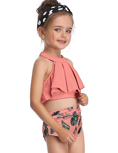 בגדי ים ללא שרוולים פרחוני בנות ילדים / פעוטות