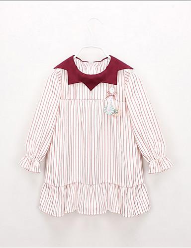 幼児 女の子 甘い / かわいいスタイル ストライプ / カラーブロック 長袖 ドレス ルビーレッド