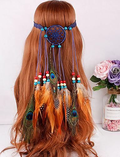07b5b7899272 Gypsy American Indian Adults' Women's Bohemian Retro Ethnic Halloween  Headpiece Feather Samba Headdress For Party Halloween Festival Wood  Feathers Net ...