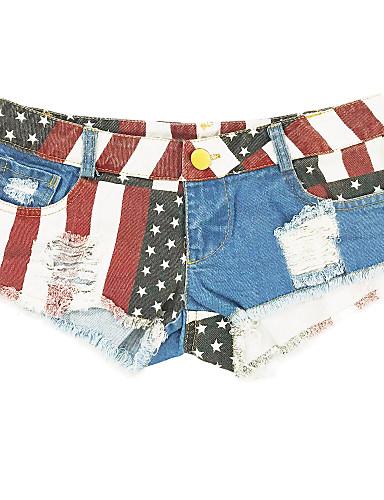 abordables Pantalons Femme-Femme Basique Mince Short Pantalon - Drapeau Taille basse Bleu royal L XL XXL