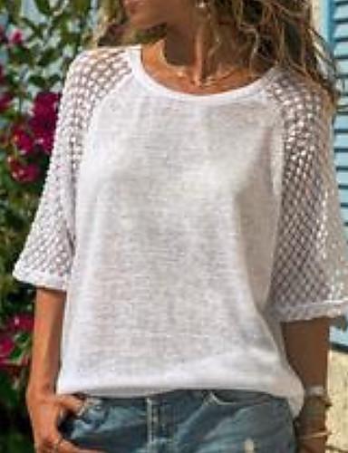 hesapli Tişört-Kadın's Tişört Dantel / Kırk Yama, Solid Büyük Bedenler Beyaz