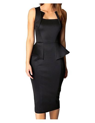 Women's Basic Bodycon Sheath Dress - Solid Colored Black Red Wine L XL XXL