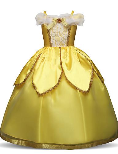 Prinzessin Normallänge Blumenmädchenkleid - Polyester / Spitze Kurzarm Spaghetti-Träger mit Spitze / Mehrlagiger Rock / Kristalle / Strass durch LAN TING Express