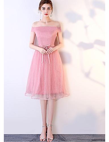 0d63c53178 cheap Bridesmaid Dresses-A-Line V Neck Knee Length Tulle Bridesmaid Dress  with Sash