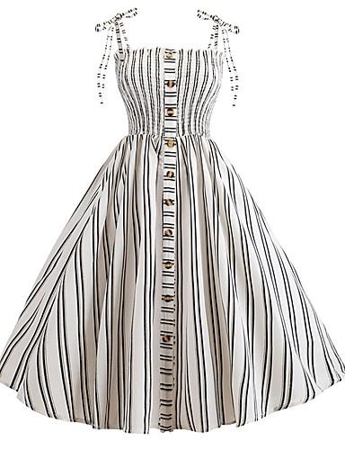 2019 Nuovo Stile Per Donna Elegante Fodero Vestito - Retato Lacci Collage, A Strisce Al Ginocchio #07199879 Materiali Superiori