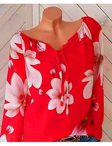 billige Dametopper-V-hals Store størrelser Skjorte Dame - Blomstret, Blomster / Trykt mønster / Løse skuldre Ferie Rød / Vår / Sommer