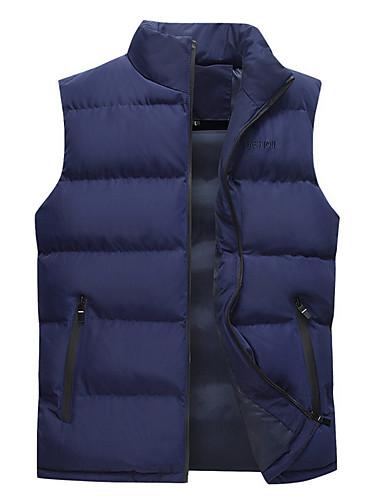 voordelige Heren donsjassen & parka's-Heren Dagelijks Standaard Effen Normaal Vest, Polyester Mouwloos Winter Coltrui blauw / Zwart / Rood XXXXL / XXXXXL / XXXXXXL